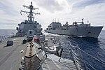 USS Sterett conducts a replenishment-at-sea with USNS Richard E. Byrd. (34417453924).jpg