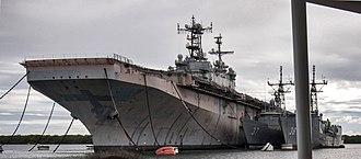 USS Tarawa (LHA-1) - Tarawa laid up at Pearl Harbor, 2013.