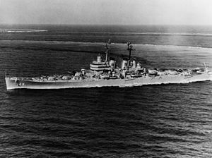 USS Worcester (CL-144) underway in the Mediterranean Sea in June 1950 (NH 91832).jpg
