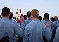 US Navy 030427-N-7781D-017 Rear Adm. John D. Stufflebeem, Commander Carrier Group Two, performs the reenlisting oath to 54 sailors during a mass reenlistment held on the flight deck aboard USS Harry S. Truman (CVN 75).jpg