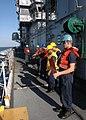 US Navy 060901-N-2651J-093 Deck Seamen aboard the amphibious assault ship USS Saipan (LHA 2) conduct underway replenishment operations.jpg