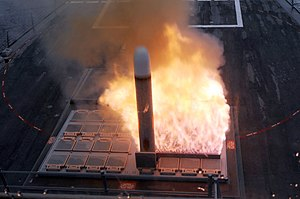 Vertical launching system - US Navy Mark 41 Tomahawk hot launch.