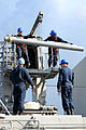 US Navy 091016-N-0890S-008 Sailors load a RIM-116 Rolling Airframe Missile (RAM) into the missile launcher aboard the multi-purpose amphibious assault ship USS Wasp (LHD 1).jpg