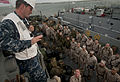 US Navy 091028-N-5319A-215 Boatswain's Mate 1st Class Robert Dillard watches as Marines from the 24th Marine Expeditionary Unit (24th MEU) load onto the Landing Craft Unit 1645 (LCU 1645) for a Composite Unit Training Exercise.jpg