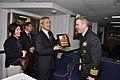 US Navy 100131-N-0776O-226 Sukumo, Japan Mayor presents plaque to USS Lake Erie commanding officer.jpg
