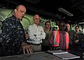 US Navy 101031-N-1531D-044 Capt. Thomas Chassee, commanding officer of the multi-purpose amphibious assault ship USS Iwo Jima (LHD 7), gives a tour.jpg