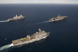 Amphibious warfare ship - Three US amphibious warfare ships - an LHD leading an LPD (rear) and an LSD (fore)
