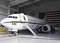 US Navy 111021-N-WD757-218 A C-40 Clipper assigned to Fleet Logistics Support Squadron (VR) 57 is in a hangar after arriving in Naval Air Station N.jpg