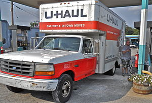 English: U-Haul van being refueled on the Rout...