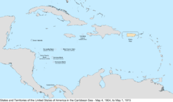 Map of the United States in the Caribbean Sea from May 4, 1904, to May 1, 1915