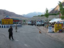 The village of Upshi and road junction at the northern end of the Leh Manali Highway