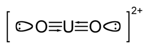 Uranyl - The uranyl ion, showing the U–O bond order of 3