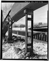 VIEW SHOWING HANGER BETWEEN ARCH AND DECK - Mott Rainbow Arch Bridge, Spanning Cannonball River, Mott, Hettinger County, ND HAER ND,21-MOTT,1-16.tif