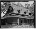 VIEW TO NORTHEAST. ROOF AND PORCH DETAILS. - Lila Farm, House, E808 State Highway 54, Plover, Portage County, WI HABS WIS,49-PLOV.V,1A-4.tif