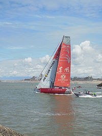 VO65 Dongfeng race team at the re-start after the pitstop in Scheveningen, Volvo Ocean Race 2014-15.JPG