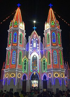 Basilica of Our Lady of Good Health Church in Tamil Nadu, India