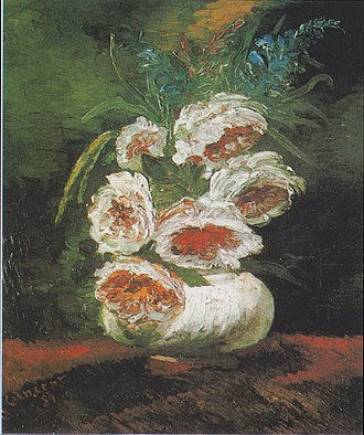 Still life paintings by Vincent van Gogh (Paris) - Vase of Peonies, 1886, Private collection (F666a)