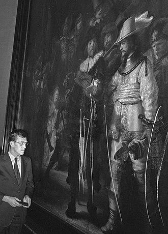 Vandalism of art - Rembrandt's Night Watch after being cut by William de Rijk in September 1975