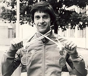Venanzio Ortis - Venanzio Ortis with the two medal won at the 1978 European Championships