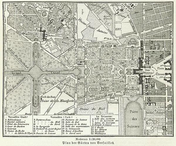 Схема садов Версаля.