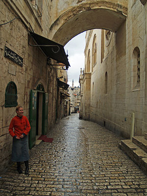 Historical Jesus - The narrow streets of Via Dolorosa, Jerusalem.