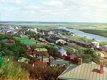 View of the railroad, city of Vladimir, Kliazma River, and water-meadows.jpg