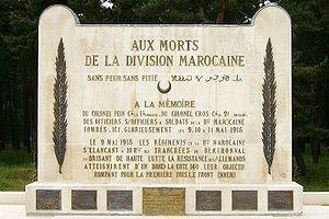 Gaston Cros - The Vimy Ridge Moroccan Division Memorial bearing Cros' name