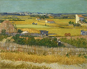Harvest at La Crau, with Montmajour in the Background