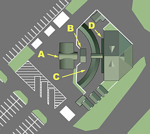 Peter J. Pitchess Detention Center - Elmer T. Jaffe Visitors' Center.  A. Main entrance; B. Security checkpoint; C. Bus ticket windows; D. Bus waiting area.