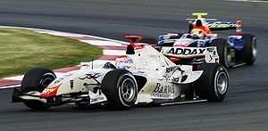 Addax Team - Vitaly Petrov driving for Campos Racing at the Silverstone round of the 2008 GP2 Series season.