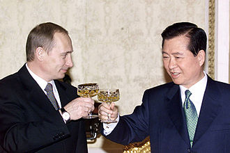 Kim Dae-jung - In February 2001, Russian president Vladimir Putin dined with Kim Dae-Jung.
