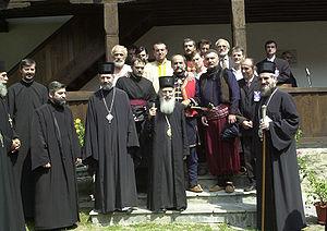 Pavle, Serbian Patriarch - Pavle with priests at Voljavča monastery, 2005.