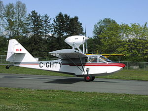 Volmer VJ-22 Sportsman flying boat homebuilt C-GHTY taking off from Courtenay Airpark, BC.JPG