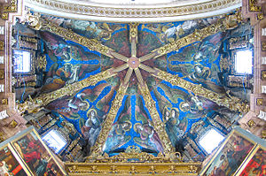Francesco Pagano - Angels playing music by Francesco Pagano and Paolo da San Leocadio, ceiling painting above the altar in the Valencia Cathedral, 1474
