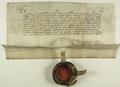 Władysław III Warneńczyk król polski, zezwala miastu Poznaniowi używać czerwonego wosku na pieczęciach, przy wystawianiu przywilejów..png