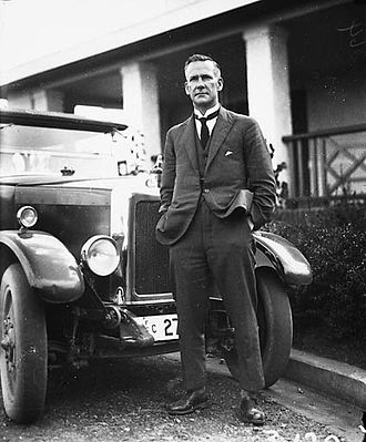 William James Mildenhall - Royal Visit, May 1927 - Mr Mildenhall with his Armstrong Siddley motor car Registration Number 27