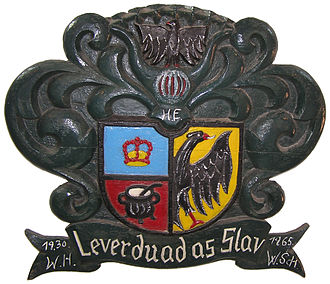 North Frisia - The coat of arms of North Frisia with its motto Lever duad as Slav (Better dead than slave). The North Frisian coat of arms is not identical with that of modern Nordfriesland district.