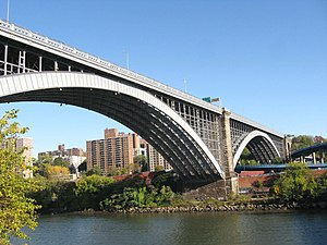 Washington Bridge - Main arch over Harlem River; secondary arch over Metro-North Railroad and Major Deegan Expressway in the Bronx