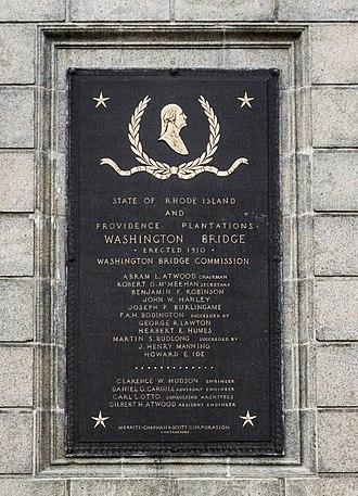 Washington Bridge (Providence, Rhode Island) - Plaque on the Washington Bridge