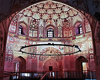 Turkish bath - The 17th century Shahi Hammam in Lahore, Pakistan is elaborately decorated with Mughal era frescoes.