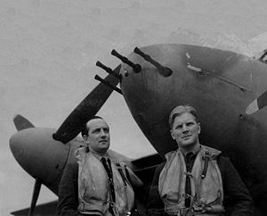 "Braham (right) with his long-serving radio and radar operator Wing Commander Bill ""Sticks"" Gregory, 1943. Gregory survived the war and died in 2001"