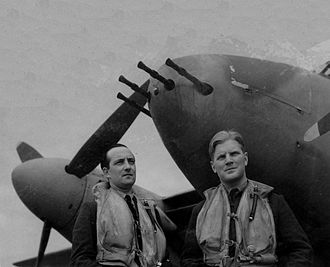 "John Braham (RAF officer) - Braham (right) with his long-serving radio and radar operator Wing Commander Bill ""Sticks"" Gregory, 1943. Gregory survived the war and died in 2001."