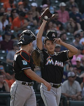 Wei-Yin Chen with catcher JT Realmuto on June 16, 2018.jpg