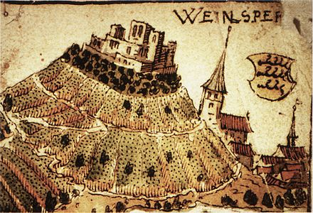 Illustration of the castle at Weinsberg, surrounded by vineyards. At Weinsberg, the peasants overwhelmed the castle, and slaughtered the aristocratic landlords. Weinsberg 1578.jpg