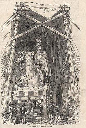 Equestrian statue of the Duke of Wellington, Aldershot - The statue leaves Wyatt's foundry in 1846