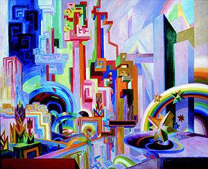"""Wenzel Hablik - """"Große bunte utopische Bauten"""" (""""Big colorful utopian constructions""""), 1922"""