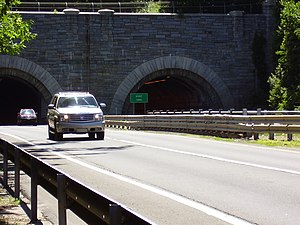 Wilbur Cross Parkway - The tunnel is the only route through a natural obstacle in Connecticut