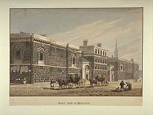 "Old Bailey - Newgate gaol in 1810. For much of its history, the ""Old Baily"" court was attached to the gaol."