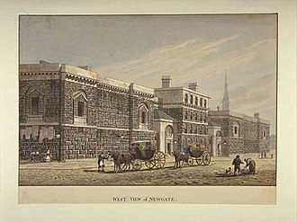 Newgate Prison - The second Newgate in a 19th-century print: A West View of Newgate by George Shepherd
