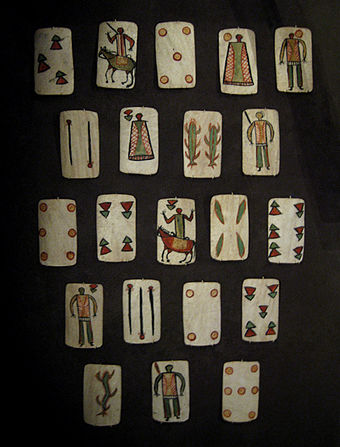 Apache rawhide playing cards c. 1875-1885, collection of NMAI. Western or chiri apache playing cards NMAI.jpg